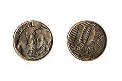 Vraie pièce de monnaie brésilienne de dix cents images libres de droits
