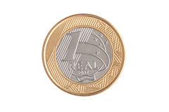 Vraie pièce de monnaie du Brésilien 1 images stock