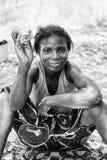 Vraies personnes au Togo, en noir et blanc Photo libre de droits