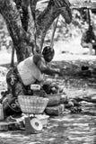 Vraies personnes au Togo (noir et blanc) Image libre de droits