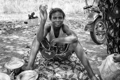 Vraies personnes au Togo (noir et blanc) Photo stock