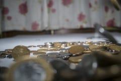 Vraies pièces de monnaie brésiliennes - groupe de pièces de monnaie image libre de droits