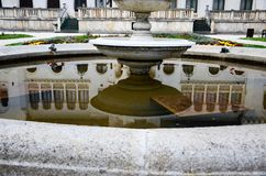 Vrana Palace , reflection in the water of fountain. Vrana Palace ,Sofia .a former royal palace, located on the outskirts of Sofia, the capital of Bulgaria. It is stock image