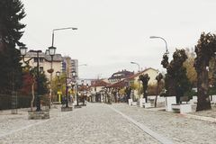 Vranje. New part of the town in old style, main promenade in cobblestone. Vranje is a small town in the south of Serbia Stock Images