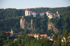 Vranov nad Dyji, Czech republic. Castle and town Vranov nad Dyji in the Southern Moravia, Czech republic. The castle stands on a high rock above the river Dyje Stock Photos