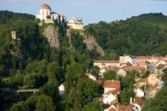 Vranov nad Dyji, Czech republic. Castle and town Vranov nad Dyji in the Southern Moravia, Czech republic. The castle stands on a high rock above the river Dyje Royalty Free Stock Photos