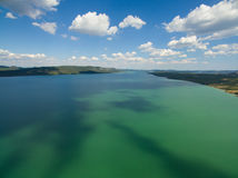 Vransko lake and landscape aerial view Royalty Free Stock Photo