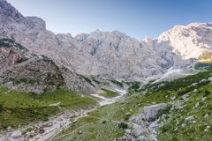 Vrata valley and Mt. triglav. North wall Stock Photos