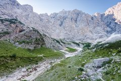 Vrata valley and Mt. triglav. North wall Stock Photo