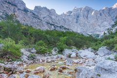 Vrata valley and Mt. triglav. North wall Stock Photography
