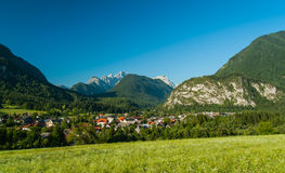 Vrata valley, Slovenia. Vrata valley with Mojstrana village, Slovenia Royalty Free Stock Images
