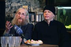 Vratislav Brabenec och Joe Karafiat, medlemmar av legendarisk musik sätter band plast- folk av universumet Royaltyfri Bild