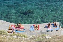 Vrbnik海滩,亚得里亚海 库存照片