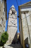 The main church in center of Historic Vrbnik on Krk Island on April 30, 2017. Croatia Stock Photos