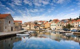 Vrboska, Croatia. View of canal in Vrboska, Croatia Royalty Free Stock Images