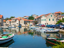 Vrboska a small harbor on the island of Hvar , Croatia Royalty Free Stock Image