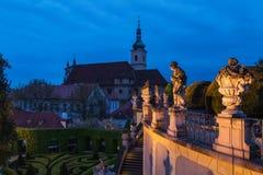 Vrbovska garden. In Prague at night Royalty Free Stock Photo