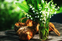 Vårbukett av liljekonvaljer Royaltyfri Bild