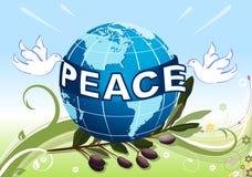 Vrede aan de Aarde met witte duiven Stock Foto