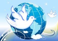 Vrede aan de Aarde met witte duiven Stock Fotografie