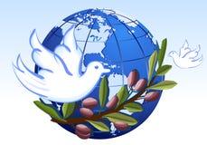 Vrede aan de Aarde met witte duiven Stock Foto's