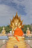 Vrede Boedha bij Thaise tempel Stock Foto's