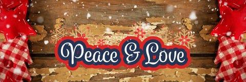 Vrede en liefdebericht op de winterachtergrond stock foto