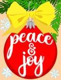 Vrede en vreugde vertakt de heldere kleurrijke affiche zich met boom, decoratie, lint en sneeuwvlokken Stock Fotografie