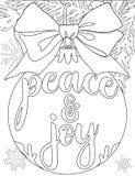 Vrede en vreugde vertakt de zwart-witte affiche zich met boom, decoratie, lint en sneeuwvlokken Stock Foto's
