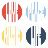 Vrede, Liefde, Muziek, het ontwerp vectorillustratie van de het Levenstekst Stock Fotografie