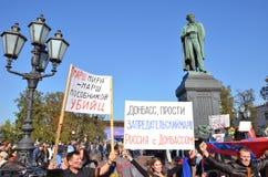 Vrede Maart, 21 September in Moskou, tegen de oorlog in de Oekraïne royalty-vrije stock foto's