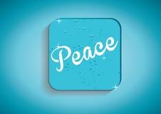 Vrede-woord op blauwe vectorknoop Royalty-vrije Stock Afbeeldingen