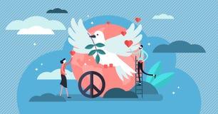 Vredes vectorillustratie Vlak uiterst klein liefde, rust en harmoniepersonenconcept royalty-vrije illustratie