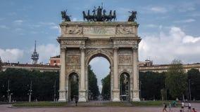 Vredesboog in Milaan drie manieren door royalty-vrije stock afbeelding