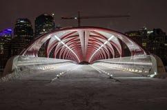 Vredesbrug en de Horizon van Calgary op een de Winternacht royalty-vrije stock fotografie