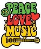 Vredesliefde en Muziek in Rasta-Kleuren Royalty-vrije Stock Foto's