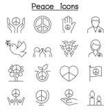 Vredespictogram in dunne lijnstijl die wordt geplaatst royalty-vrije illustratie