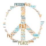 Vredesteken Gevormde Word Wolk stock afbeelding