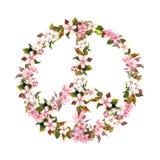 Vredesteken, roze bloemen - kersenbloesem, sakura watercolor stock illustratie