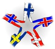 Vredesteken van Skandinavische vlaggen Stock Afbeeldingen