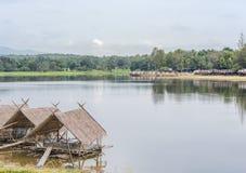 Vreedzaam gemodelleerd platteland met meren royalty-vrije stock afbeeldingen