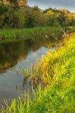 Vreedzaam kanaal, waterweg met groene schrille bank en schaduw Stock Afbeeldingen