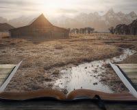 Vreedzaam landschap op boek Stock Foto