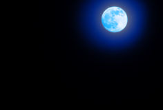 Vreedzame achtergrond, nachthemel met volle maan, Stock Fotografie