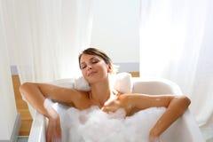Vreedzame het baden tijd Stock Afbeelding