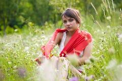 Vreedzame jonge vrouw Stock Afbeelding