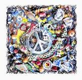Vreedzame kaart Illustratie van siervredesteken op grunge veelkleurige achtergrond Stock Foto