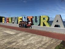Vreedzame kust in Buenaventura Colombia Baai van La cruz gang in de baai royalty-vrije stock afbeeldingen