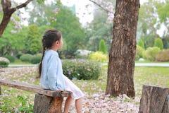 Vreedzame meisjezitting bij houten login de de zomertuin met uit het kijken royalty-vrije stock foto's