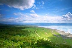 Vreedzame mening over het meer Nakuru Stock Foto